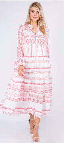 Image of V-Neck Print Maxi Aly Daly