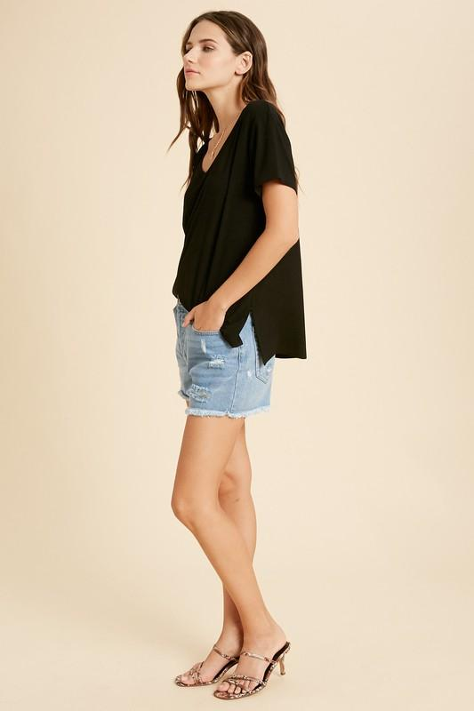 V-Neck Side Slit Tees tops Wishlist S/M black