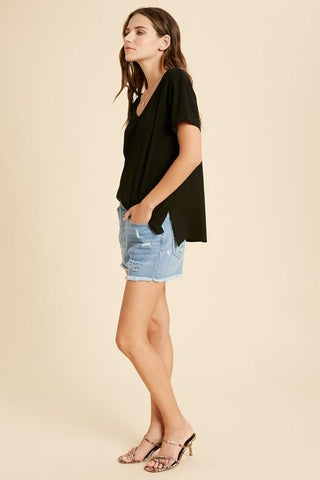 Image of V-Neck Side Slit Tees tops Wishlist S/M black
