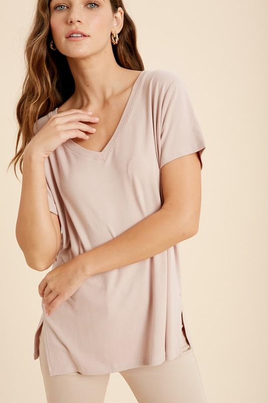 V-Neck Side Slit Tees tops Wishlist S/M light lavender