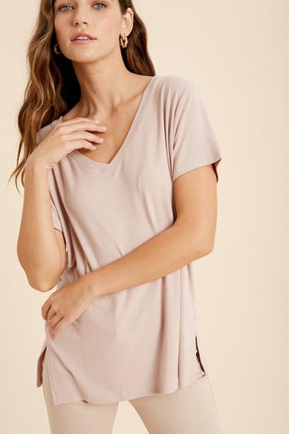 Image of V-Neck Side Slit Tees tops Wishlist S/M light lavender