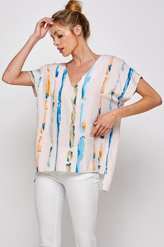 Watercolor Stripe Top Top caramela