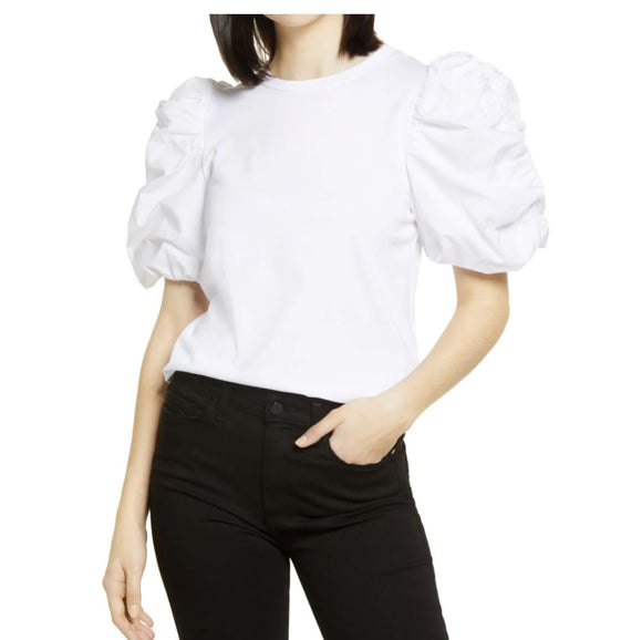 White Poplin Puff Sleeve T-shirt tops English Factory