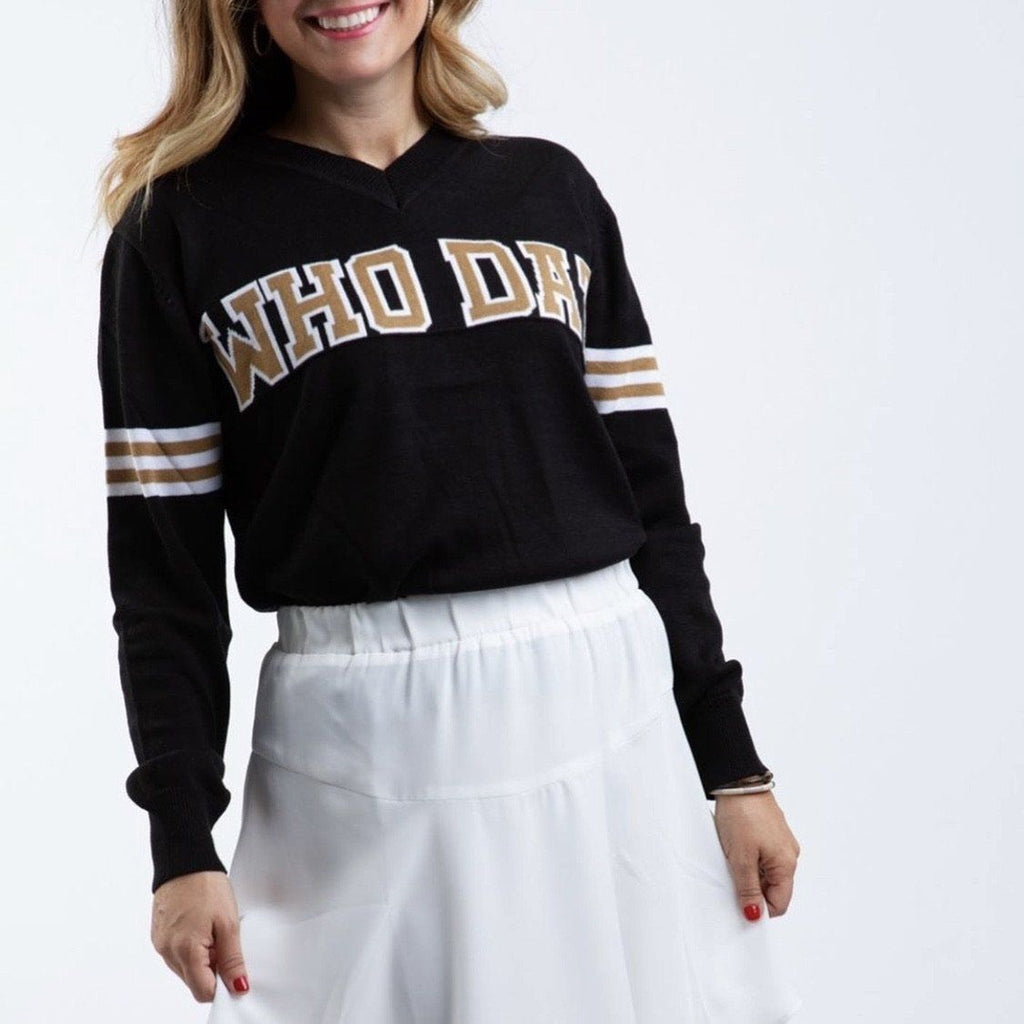 WHO DAT Black Jersey Sweater Sweater Sparkle City