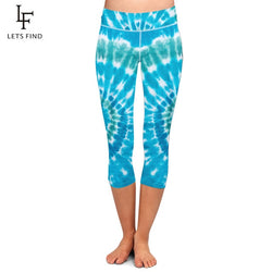 Women Stretch Capri Pants Tie-dye Print High Waist Mid-Calf Casual Fitness Leggings