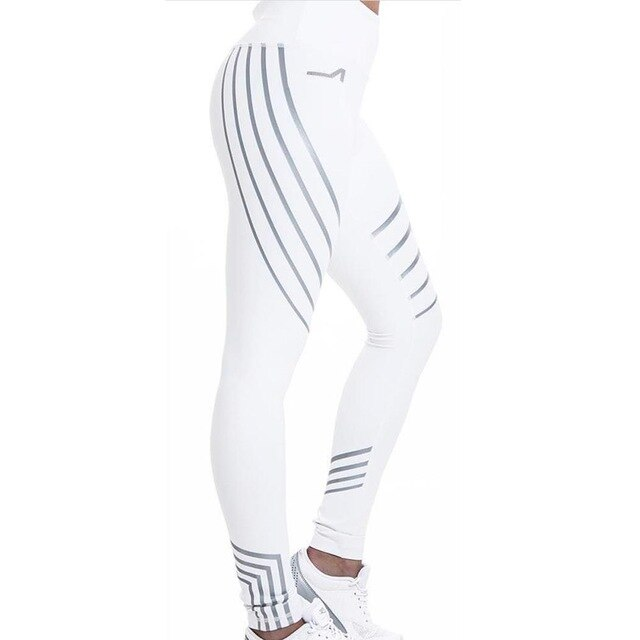 High Waist Glowing Rainbow Reflective Stripe Fitness Leggings - BrandNu International
