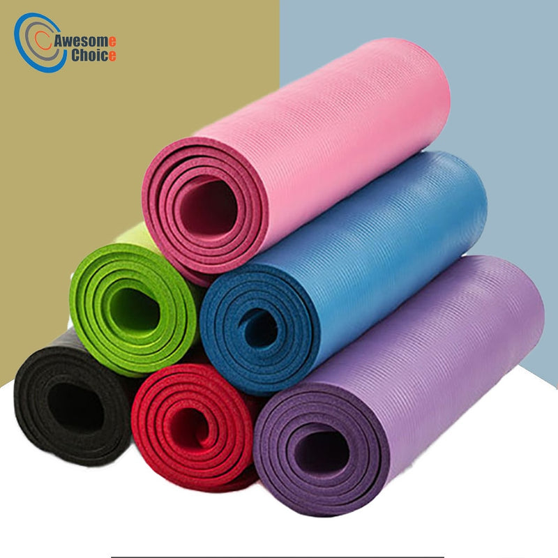 Quality 10mm NBR Yoga Mat with Free Carry Rope 183*61cm Non-slip Thick Pad Fitness Pilates Mat for Outdoor Gym Exercise Fitness - BrandNu International
