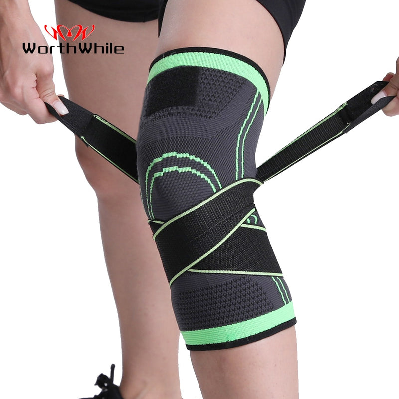 WorthWhile 1PC Sports Kneepad Men Pressurized Elastic Knee Pads Support Fitness Gear Basketball Volleyball Brace Protector - BrandNu International