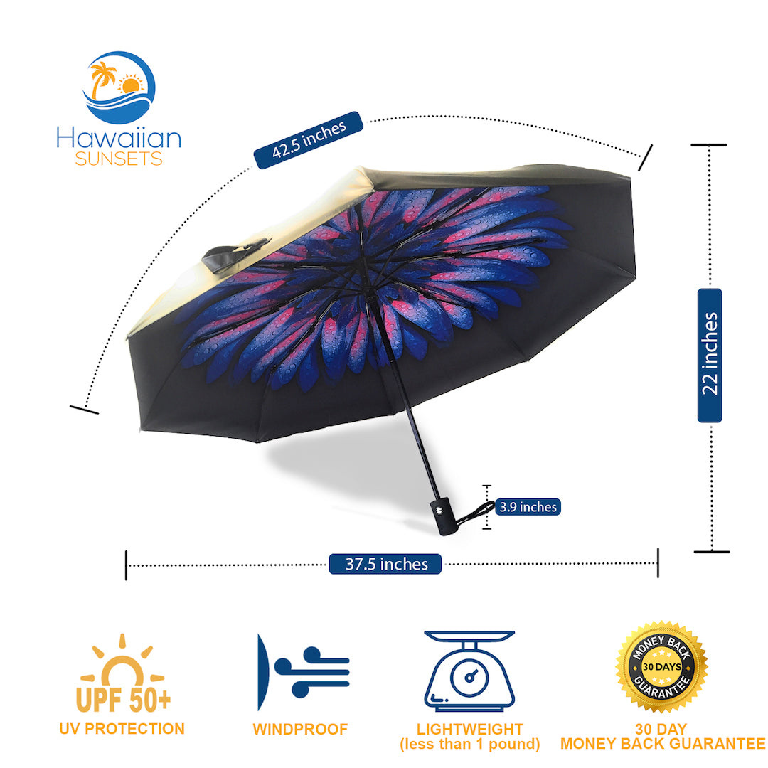 UV Umbrella's dimensions and features including 30 day money back guarantee
