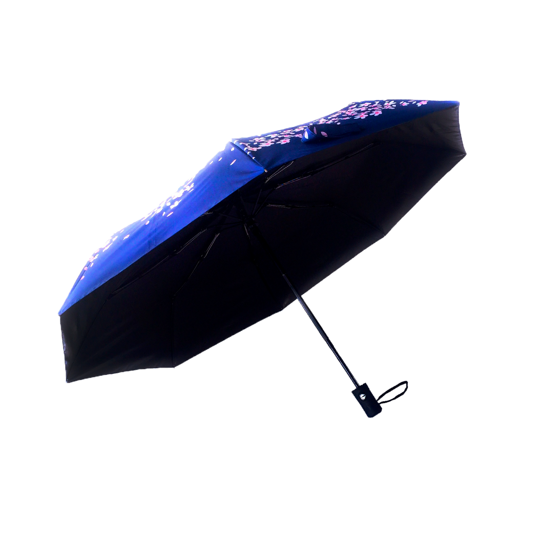 Purple umbrella with cherry blossoms as exterior design.  UV Umbrella