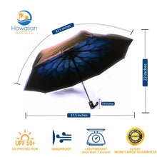 Load image into Gallery viewer, Blue Umbrella with dimensions, benefits, lightweight, uv umbrella