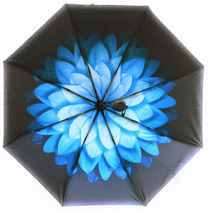 Blue floral umbrella - blue flower interior design of UPF50 umbrella