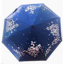 Load image into Gallery viewer, Purple umbrella with cherry blossoms exterior design.  UV Umbrella