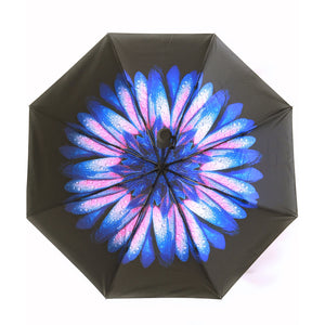 Umbrella with purple flower underneath canopy - interior design
