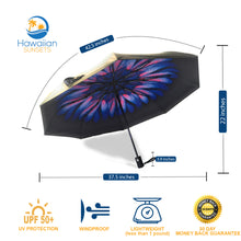Load image into Gallery viewer, Purple Umbrella with flower on the interior; Dimensions of the umbrella and benefits