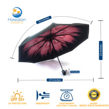 Load image into Gallery viewer, Pink floral umbrella dimensions, benefits, lightweight, 30 day money back guarantee