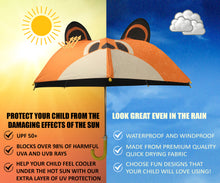 Load image into Gallery viewer, Infographic on kids umbrella under the sun and the rain