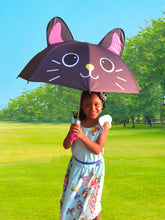 Load image into Gallery viewer, Kids Umbrella for Girls and Boys | Girls Umbrella with UV Sun Protection | Choose a cute umbrella for kids that protects your precious ones from the rain or the sun! Black Cat Umbrella