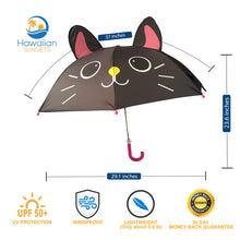 Load image into Gallery viewer, dimensions of black cat umbrella for kids and benefits