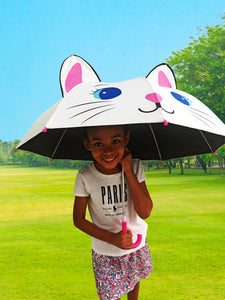 Kids Umbrella for Girls and Boys | Girls Umbrella with UV Sun Protection | Choose a cute umbrella for kids that protects your little ones from the rain or the sun! White Cat Umbrella