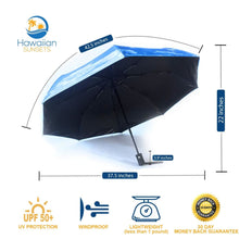 Load image into Gallery viewer, UV Umbrella infographic with dimensions listed, UPF50 Protection, wind resistant and lightweight- less than 1 pound