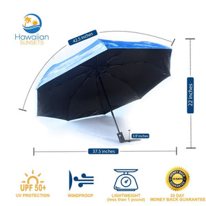 UV Umbrella infographic with dimensions listed, UPF50 Protection, wind resistant and lightweight- less than 1 pound