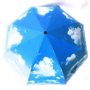 Light Blue Umbrella with Blue Skies Design on the Exterior