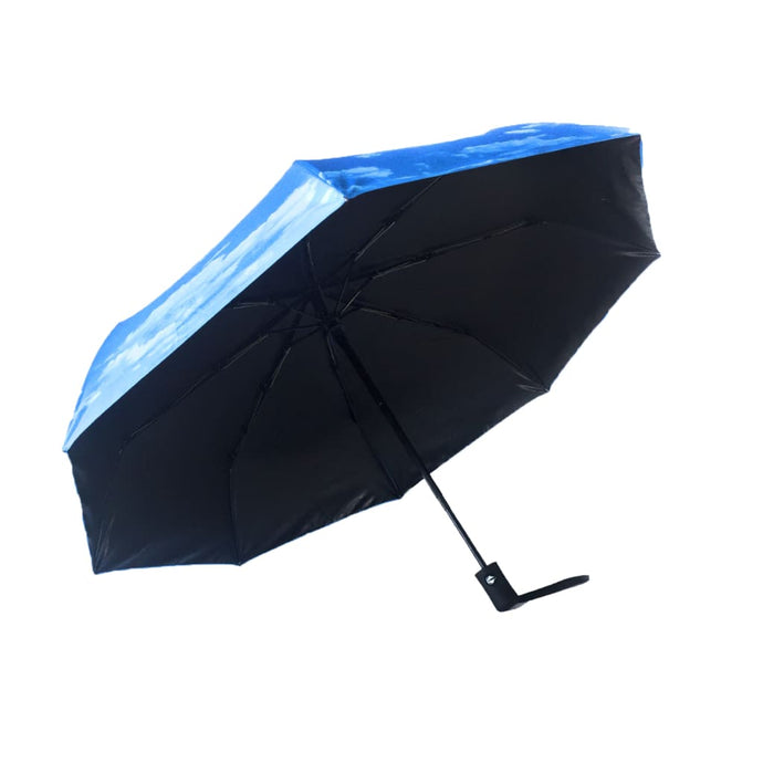 Light blue umbrella with Blue Skies as Exterior Design - UPF50 Sun Protection