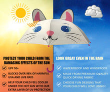 Load image into Gallery viewer, Infographic of how well kids umbrella with UV protection works in sun and rain