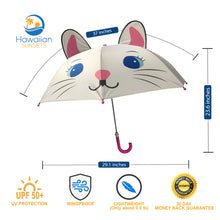 Load image into Gallery viewer, Dimension and infographic of Kids umbrella with UV protection