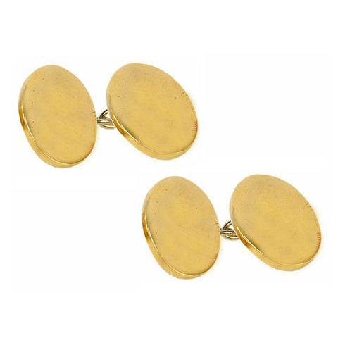 Double Oval, Gold Plated Chain Cufflinks