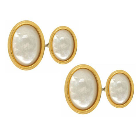 Mother of Pearl, Double Oval, Gold Plated Chain Cufflinks