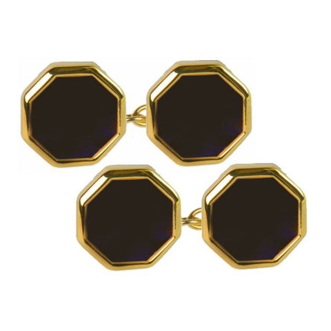 Onyx Double Octagon Chain Cufflinks