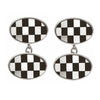 Sterling Silver Mop and Onyx Chequered Cufflinks