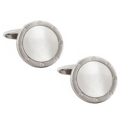 Mother of Pearl Round Port Hole Cufflinks