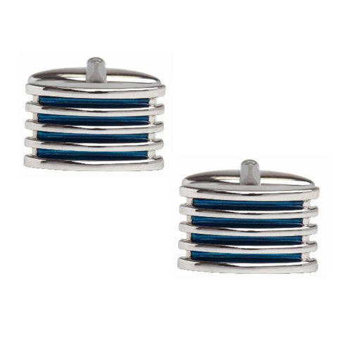 Blue 4 Rib Enamel Cufflinks