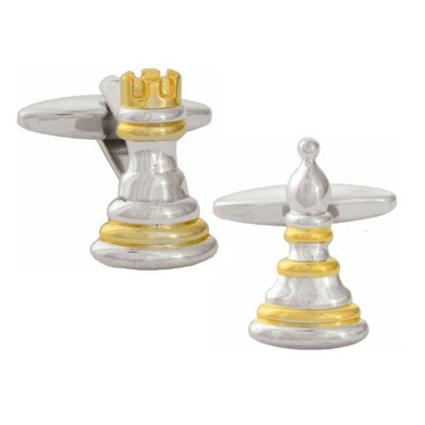 Pawn and Rook Chess Cufflinks