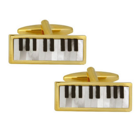 Piano Keyboard Mother of Pearl and Onyx Cufflinks