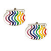Rainbow Wave Oval Enamel Cufflinks