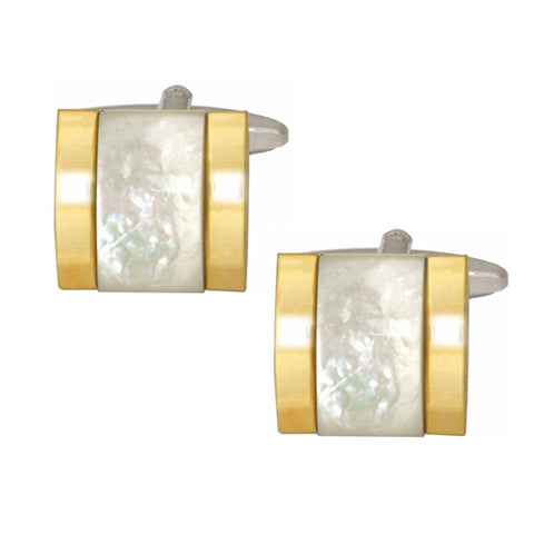 Mother of Pearl Raised Centre with Gold Plated Sides Cufflinks