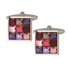 Pink Toned 9 Crystal Cufflinks