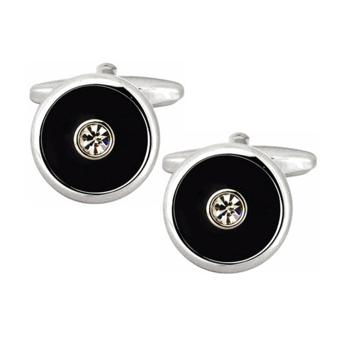 Round Black with Centre Crystal Cufflinks