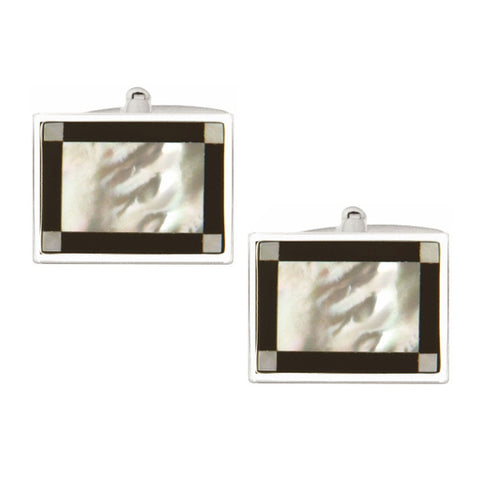 Rectangular Mother of Pearl & Onyx Edge Band Cufflinks