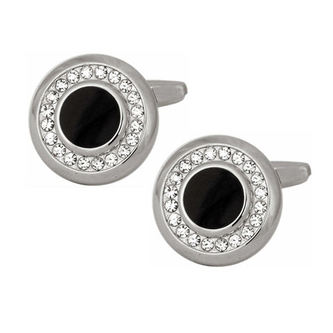 Clear Crystals with Black Acrylic Centre Cufflinks