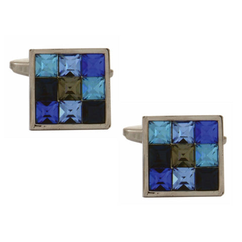9 Crystals in shades of Blue Cufflinks