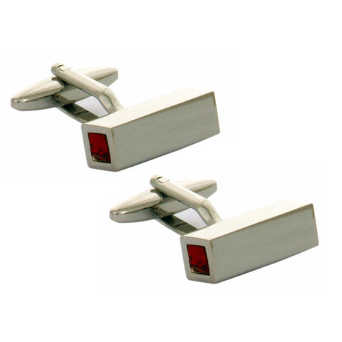 Tube Red Crystal Cufflinks