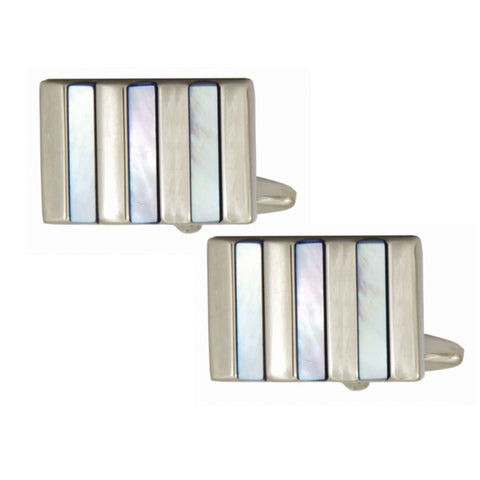 Blue Mother of Pearl Striped Cufflinks