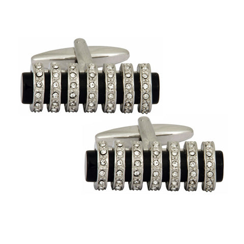 Black Tube With Crystals Cufflinks