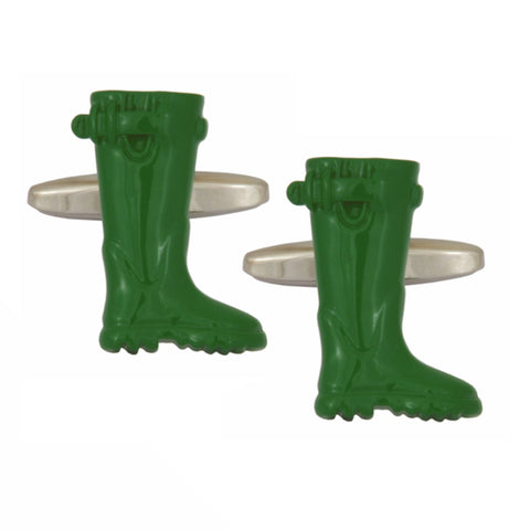 Green Wellington Boots Cufflinks