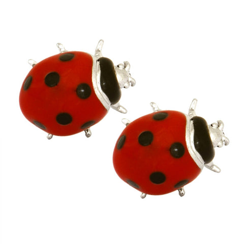 Red and Black Enamel Ladybird Cufflinks